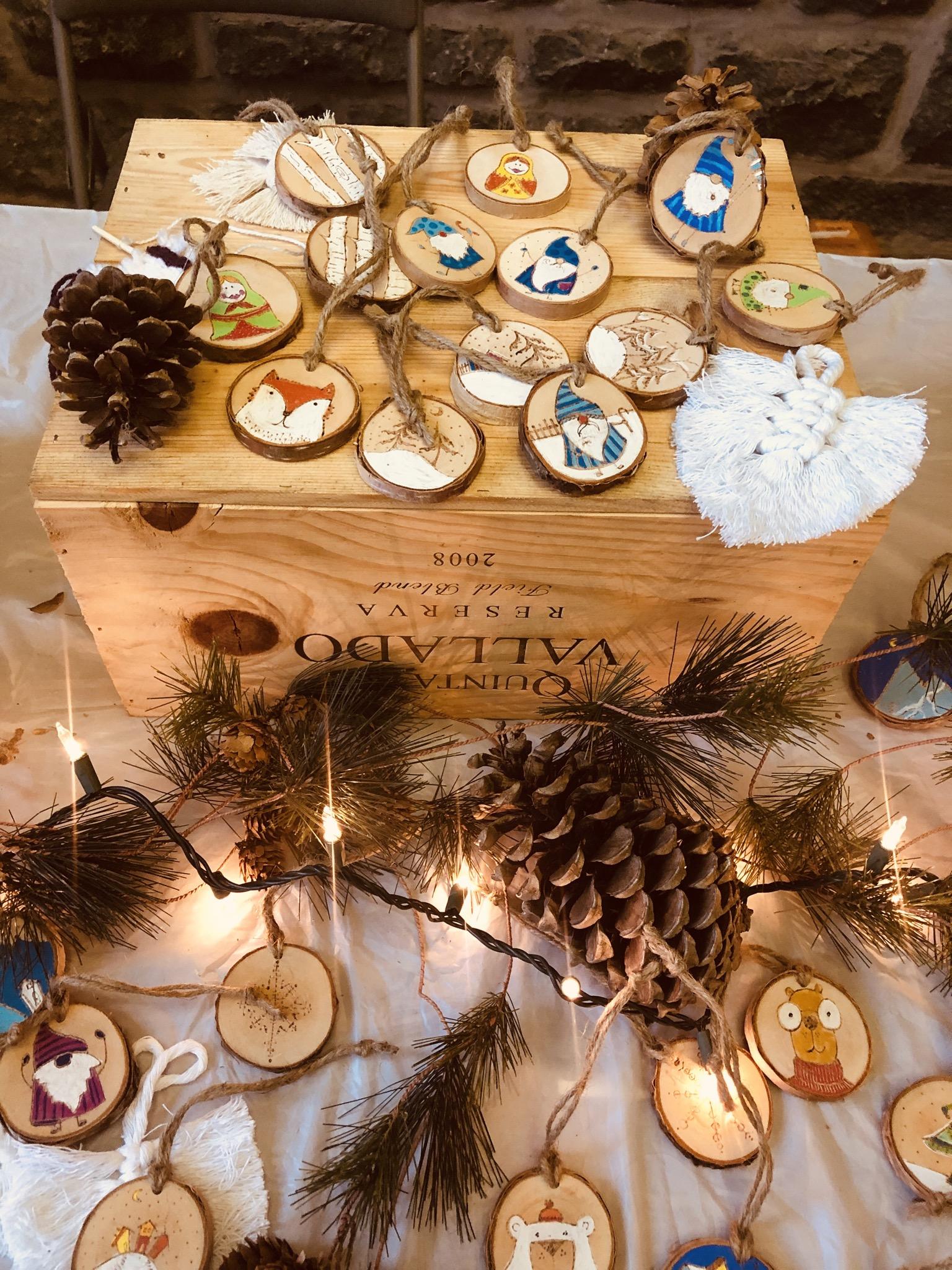 Handmade wooden ornaments courtesy of The Fine Black Pen